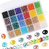 Cuentas de Cristal de Colores 1200 Piezas Cuentas de Vidrio Facetadas, 24 Colores Surtidos de Abalorios para Hacer Joyas de Bricolaje Haciendo Pulseras con Caja de Almacenamiento