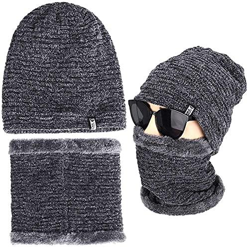 DealMux - Juego de 2 piezas para hombre, gorro de invierno, bufanda, conjunto de gorro de lana cálido, forro grueso, color sólido, tejido, adecuado para deportes al aire libre, esquí, acampada, mante