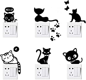 Peel & Stick (6 Pack) Funny Lovely Cute Cat Pet Cartoon Art Vinyl Wall Sticker for for Home Decoration, Light Switch Decor Decals, Cell Phone Laptop and More.