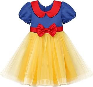 OBEEII Little Girls Snow White Princess Costume Fancy Dress Up Halloween Party Toddler Fairy Cosplay Tutu Dress