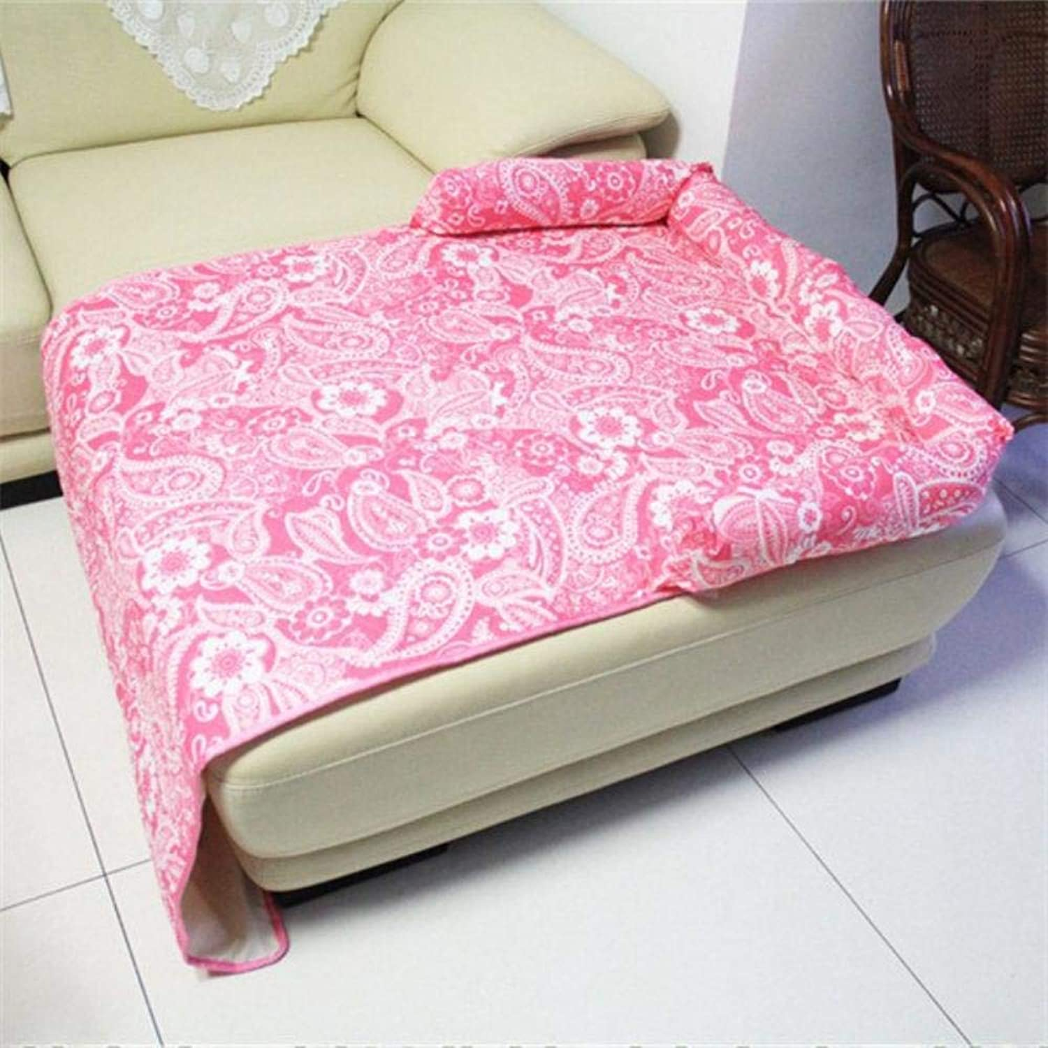 Fashion Dog Sofa Bed Printed Sofa Cover for Dogs and Cats PP Cotton Pet Sofa Predector Dog Bed Cushion Washable Dog Mat (XL,Pinky with White)
