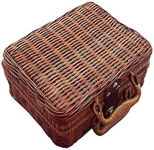 LBWARMB Cestas de Picnic Canasta Caja de Almacenamiento Caja de Almacenamiento Maleta de Viaje Retro Maleta de Mimbre, Picnic de Mimbre marrón