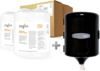 Zogics Wellness Center Cleaning Wipes (1,150 Wipes/Roll, 2 Rolls/Case) + Wall-Mounted Wipe Dispenser