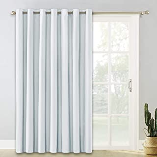 PONY DANCE Wide Slider Curtains - (100 W x 84 L, Greyish White) Window Curtain Panel Screen Partition Privacy Drapes Light Block Blinds for Patio Sliding Door/Living Room, 1 Piece