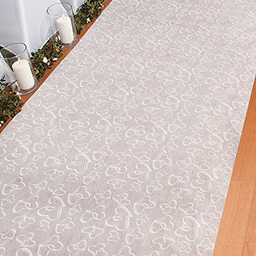 Fun Express Aisle Runner for Weddings - Two Hearts, Perfect for Indoor, Outdoor, Beach Weddings - Polyester 3'X100'