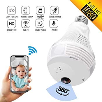 Finicky World Wireless Panoramic Bulb 360° IP Camera ,2MP, 1080P Fisheye Vision, Remoting Monitoring Home Security Camera LED Bulb Light,with Night Vision,Hidden Camera, Two-Way Audio and Support Micro 128GB SD Card