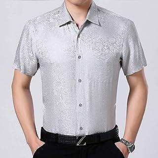 Lutratocro Mens Print Casual Button Down Plain Summer Short Sleeve Shirts