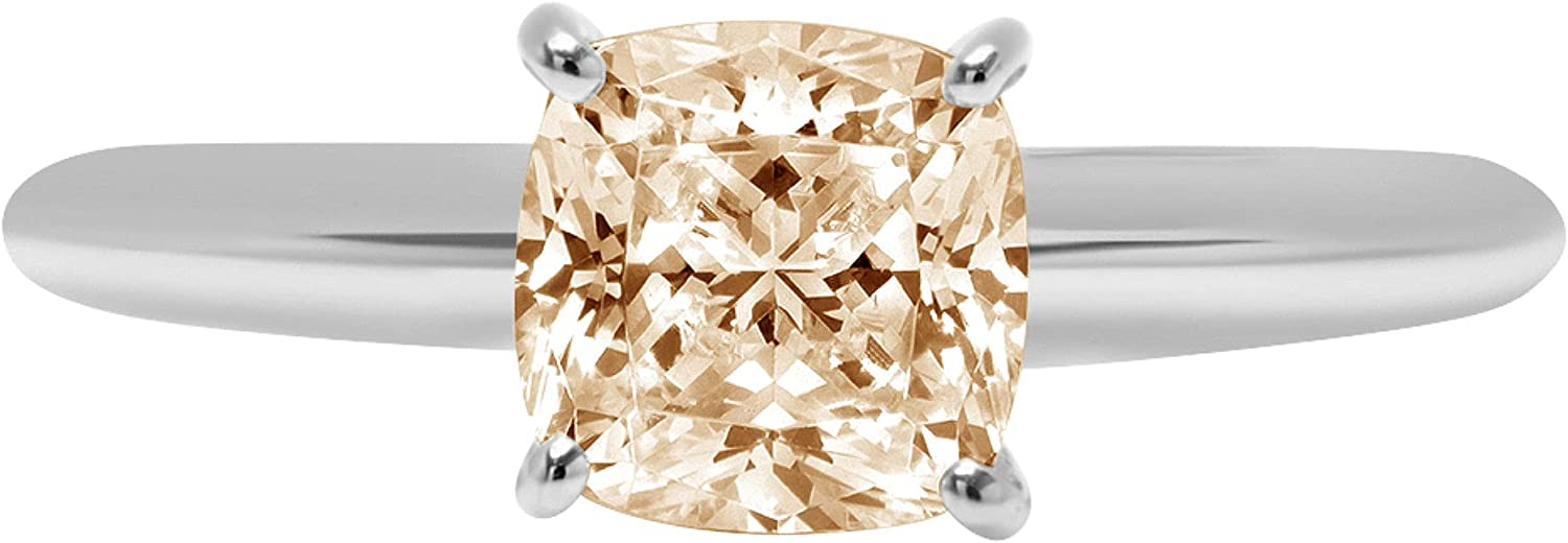 0.9ct Brilliant Cushion Cut Solitaire Designer Genuine Natural Morganite Ideal VVS1 4-Prong Engagement Wedding Bridal Promise Anniversary Ring Solid 14k White Gold for Women