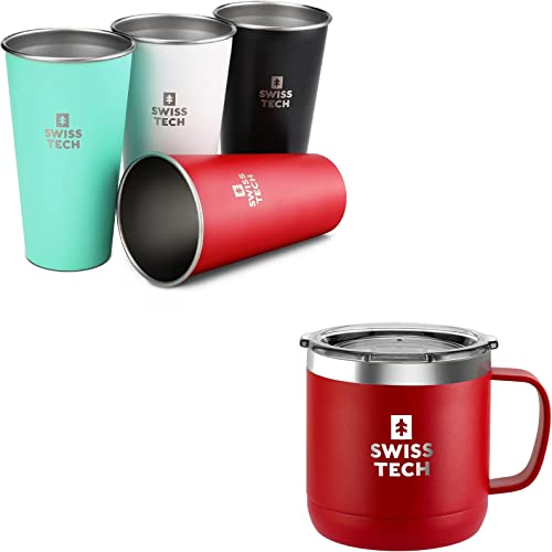 discount Swiss+Tech 20 oz Stainless online Steel Cups, 4 Pack Stackable Pint Cup and SWISS+TECH 14 oz Coffee outlet online sale Mug(White) outlet online sale