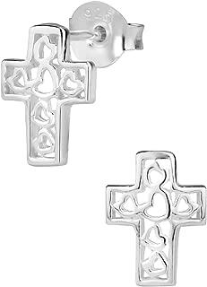 Hypoallergenic Sterling Silver Cross with Heart Designs Stud Earrings for Kids (Nickel Free)