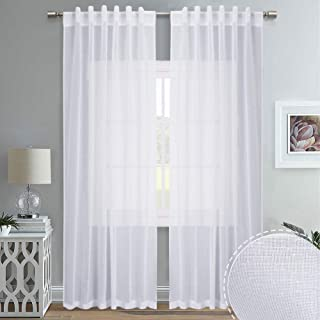 RYB HOME White Sheer Curtains for Living Room, Back Tab & Rod Pocket 2 Hanging Options, Large Window Drapes for Patio Door Sliding Glass Door Lobby, 55 Width x 95 Length, Set of 2