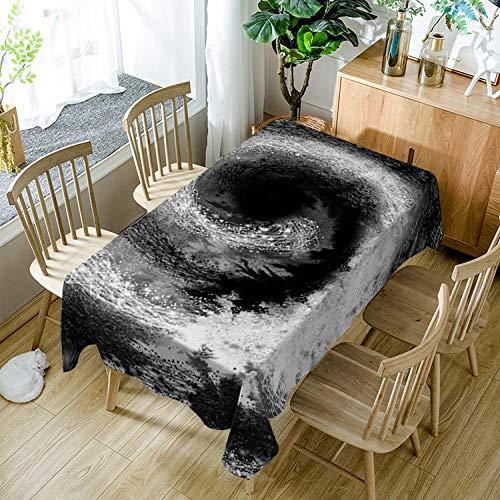Manteles mesa rectangular tela Arte blanco y negro 140 x 140cm Mantel lavable antimanchas Antideslizantes Algodón y Lino Impermeable Resistente al Aceite Decoración del Hogar Cocina Sala de estar