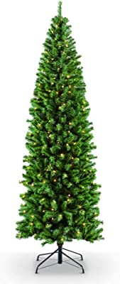 Puleo International 7.5 Foot Pre-Lit Northern Fir Pencil Artificial Christmas Tree with 350 Clear Lights, Green