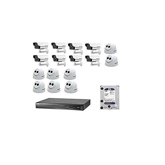 HIKVISION HD 16CH HD NVR, 8 BULLET Cameras, 8 Dome Camera 4TB Hard DISC
