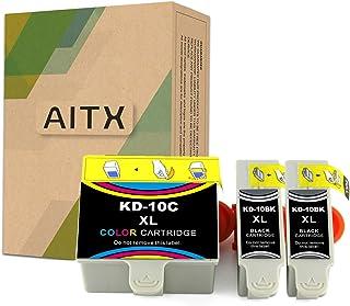 خرطوشة حبر بديلة لطابعة AITX 10XL 10 XL كومبو (2 أسود، 1 لون) عالية الإنتاجية Kodak 10B/C XL لطابعة Kodak 5100 5300 5500 3...