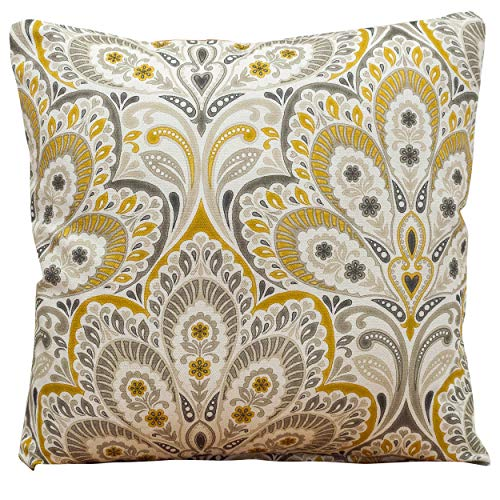Ornate Ochre Yellow and Grey Fleur De Lis Cushion Cover. Printed Damask Style. 100% Natural, Linen Blend. 17' (43cm) Square Pillowcase. Green and Blue.