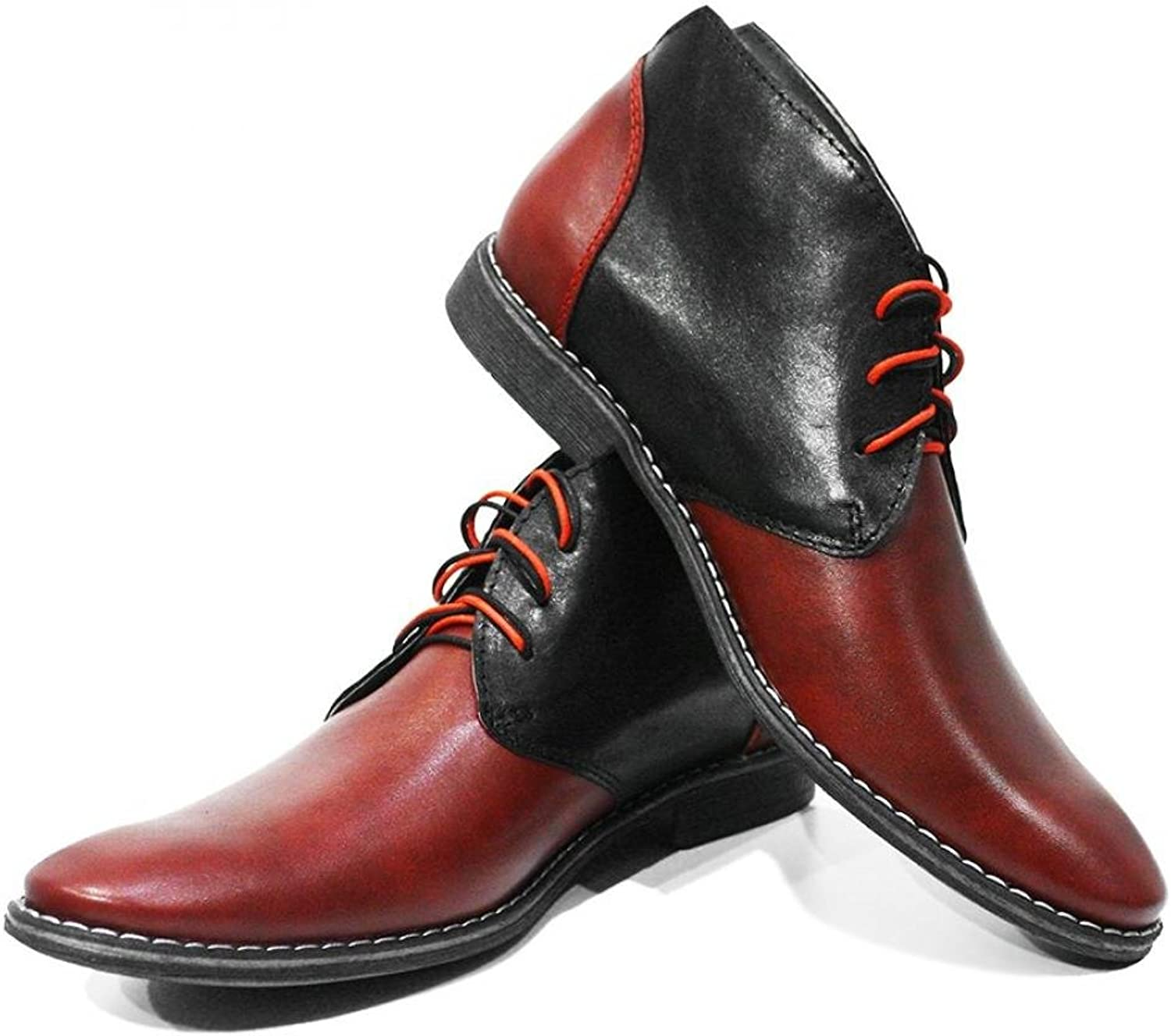 Peppeshoes Modello Pacomio - Handmade Italian Leather Mens color Red Ankle Chukka Boots - Cowhide Smooth Leather - Lace-Up