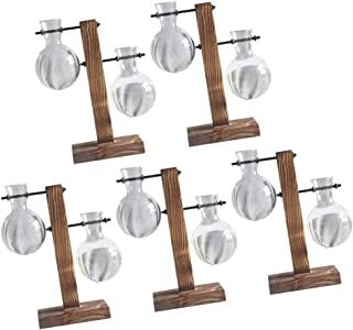 Fenteer 5X Hydroponic Vase with Retro Wooden Stand Propagation Stations for Hydroponics Plants Office Desk Wedding Decor- ...