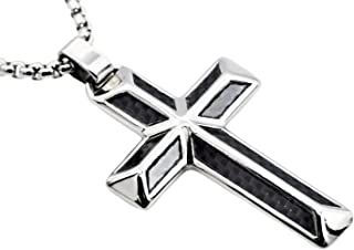 Men's Stainless Steel Cross Pendant with Carbon Fiber and...