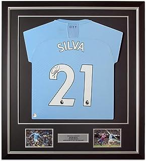 Exclusive Memorabilia Manchester City 2019-20 Fußballtrikot von David Silva signiert. Gerahmt
