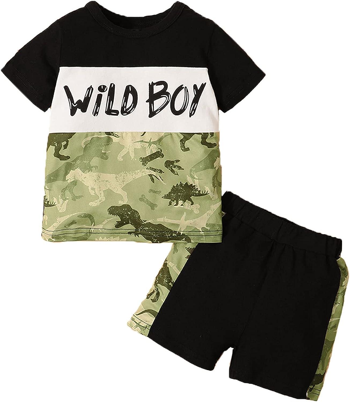 Aslaylme Wild Boy Outfits Baby Little Boys Dinosaur Short Clothes