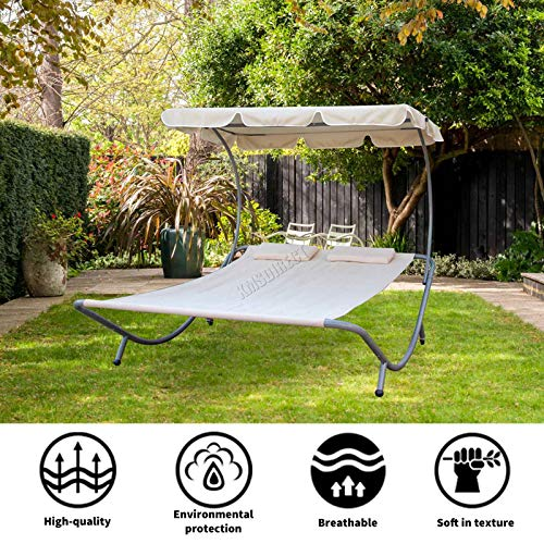 BIRCHTREE Garden Outdoor Patio Furniture Double Sun Lounger Day Bed Hammock Canopy Shade Relaxing Sunny Beige New