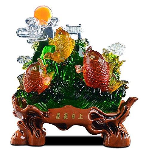 BXU-BG Suerte del dragón del Oro Ornamentos de Cristal de Pescado más de un año Inicio Feng Shui Mobiliario Compañía Apertura Tiendas de Regalos 29x14x32cm Crafts