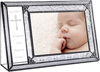 J Devlin Pic 393-46H EP590 Personalized Baptism Picture Frame Engraved Glass 4 x 6 Photo Christening Gift