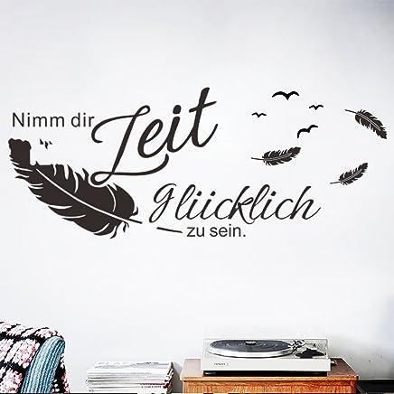 Decalmile Wandtattoo Sprüche Und Zitate Nimm Dir Zeit Glücklich Zu Sein  Vögel Federn Wandsticker Schwarz Wandaufkleber