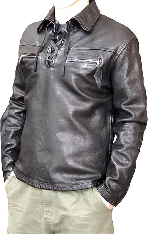 Men's Genuine Lambskin Leather Sweater Jacket Motorcycle Flight Bomber Jacket Air Force Aviator Outwear ( Biker Jacket),XXL