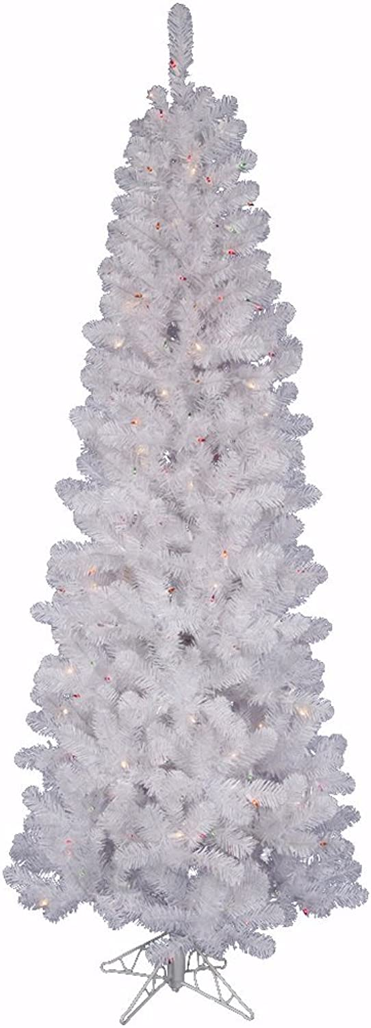 Vickerman Pre-Lit Salem Pencil Pine Tree with 150 Frosted Multicolor LED Lights, 5.5-Feet, White