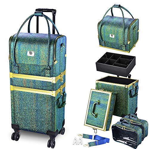 Byootique 3in1 Leather Makeup Artist Travel Train Case Lockable Rolling Cosmetic Trolley with Removable Belt Organizer Storage Hand Bag Malachite Green