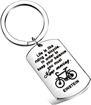 FEELMEM Life is Like Riding a Bicycle Albert Einstein Keychain Inspirational Keyring Gift for Best Friend