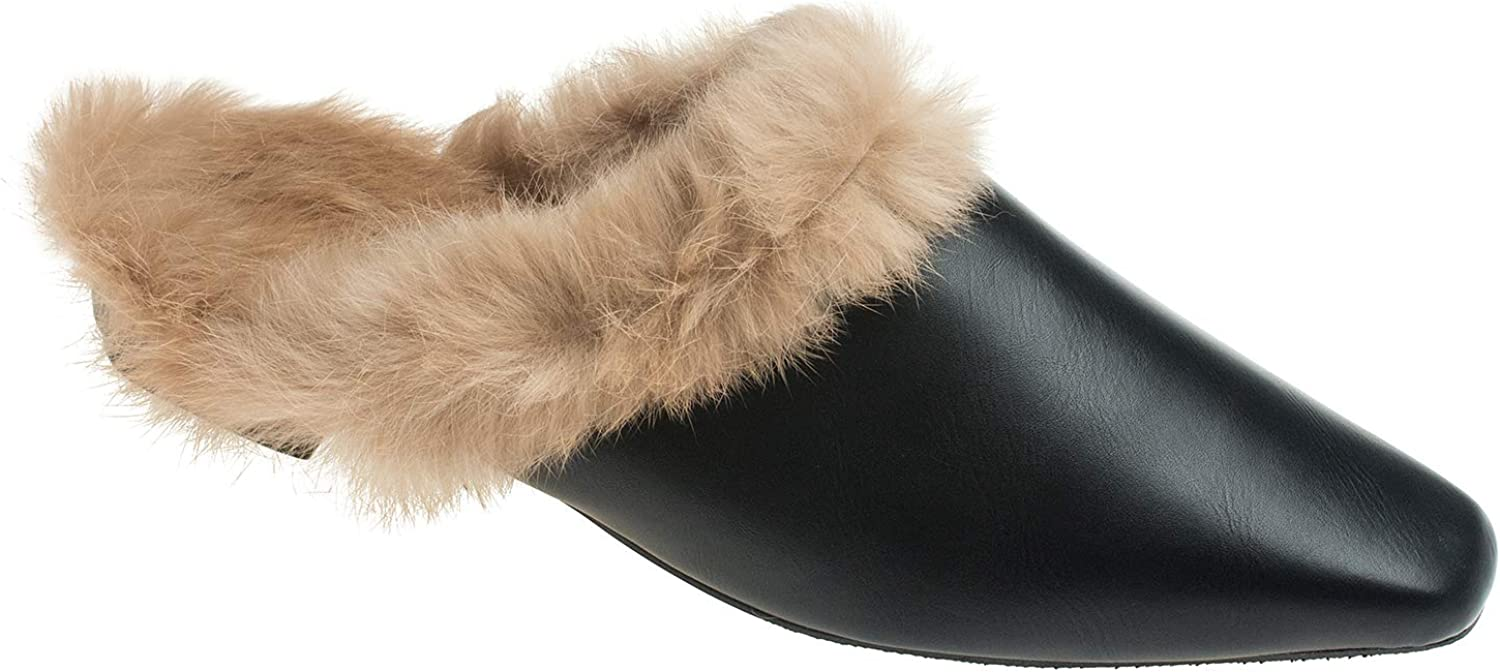 AnnaKastle Womens Soft Fur Lined Backless Loafer Flat Slippers
