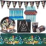 Guerres des étoiles Party Supplies Decoration Set Happy Birthday Party Vaisselle Packs Comprend Comprend Couverts, Tasses, Nappe, Serviettes, Ballon, Bannière, Fourchettes