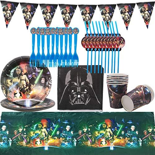 ZSWQ Krieg der Sterne Gebutstag Party Set 62 Teiliges Party-Set Krieg der Sterne Teller Becher Servietten Trinkhalme für10 Kinder Geburtstag Dekoration Set Happy Birthday Deko