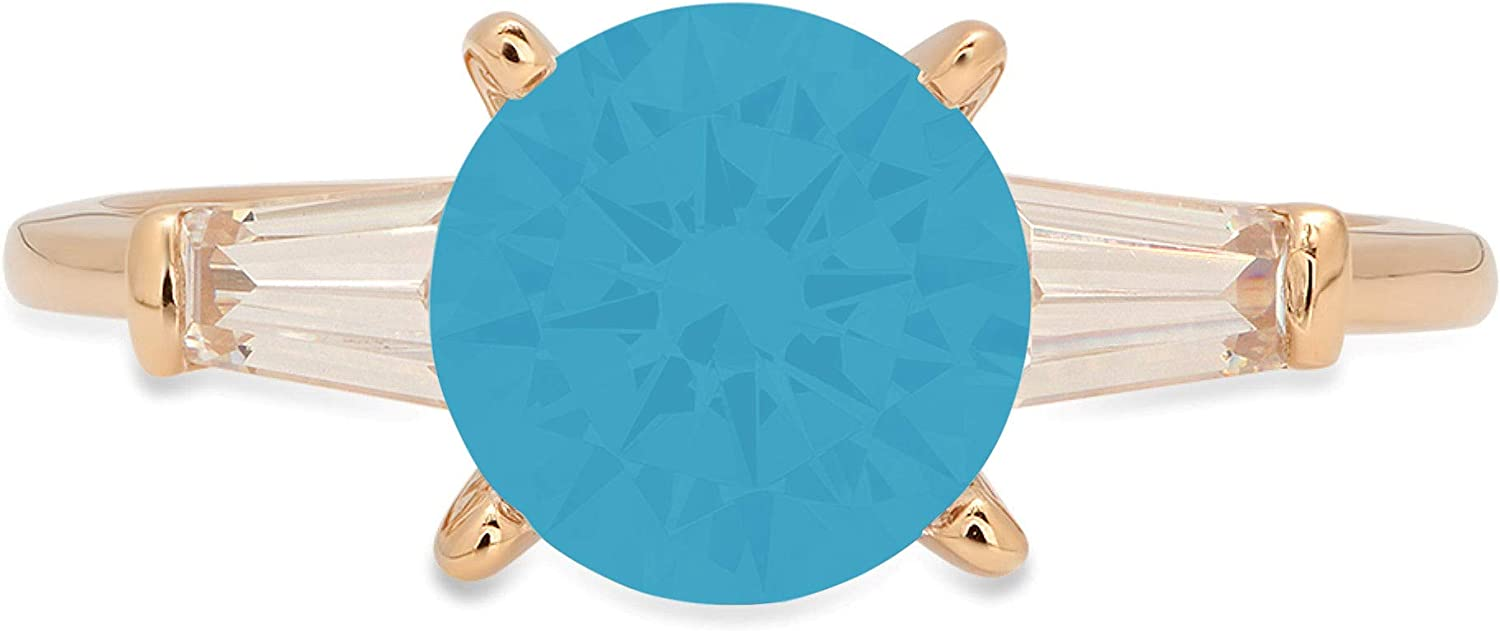 Clara Pucci 2.1 ct Round Baguette Cut 3 stone Solitaire Stunning Genuine Flawless Simulated Turquoise Gem Designer Modern Statement Accent Ring Solid 18K Yellow Gold