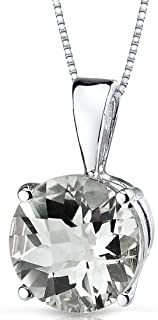 14 Kt White Gold Round Cut 1.75 Carats Green Amethyst Pendant