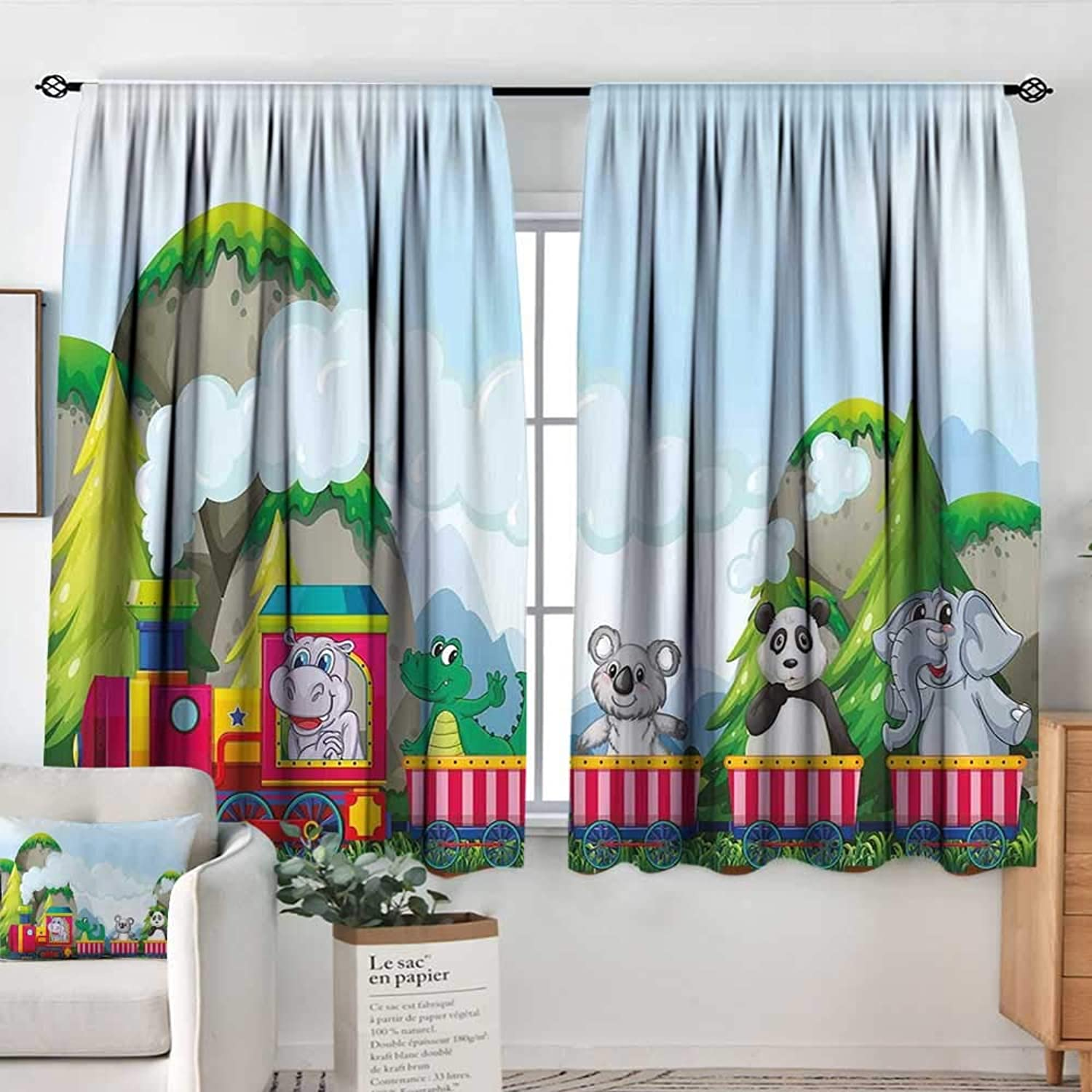 Elliot Dgoldthy Home Decoration Thermal Insulated Curtains Kids,Various Animals Riding on Train in The Park with Mountains Cartoon Style Illustration,Multicolor,for Bedroom,Nursery,Living Room 42 x63