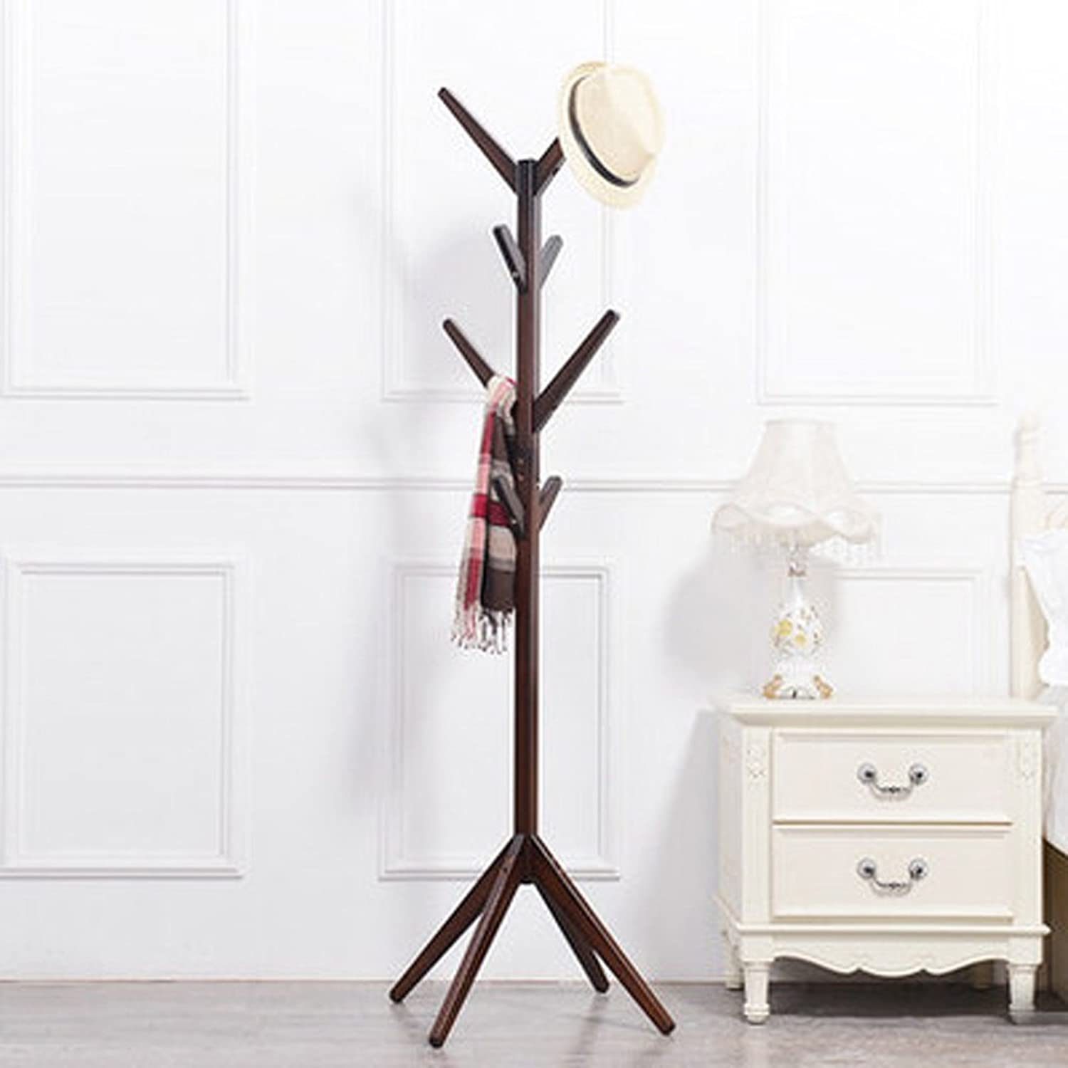 Coat Racks Floor Solid Wood Bedroom Living Room Hanger Simple Modern Household Hangers Indoor Clothes Rack (color   Brown)