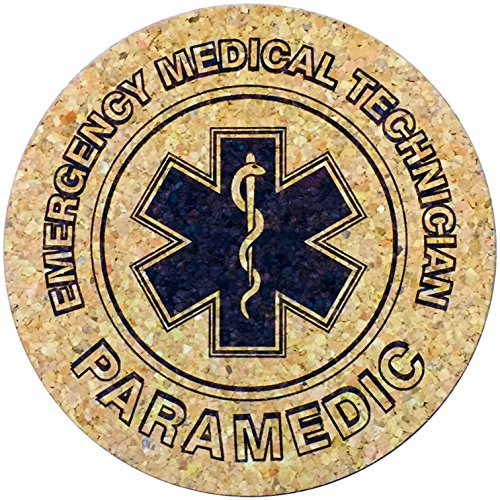 XL posavasos EMT Paramedic (6pulgadas, set de 2) gran tamaño corcho posavasos, diseño de absorbente que no Stick EE. UU.