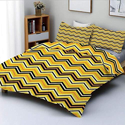 Juego de funda nórdica, rayas horizontales en zigzag en colores vibrantes, gráfico moderno, artístico decorativo, juego de cama de 3 piezas con 2 fundas de almohada, amarillo naranja negro, el mejor r