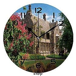 AmaUncle Round Wall Clock Christchurch Canterbury Provincial Councill 10 inch Morden Wall Clocks Silent Round Decorative Clock No28708
