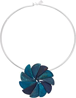 Blue Patina Sculptural Flower Pendant Round Wire Collar Necklace