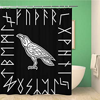 Awowee Bathroom Shower Curtain Animals Raven Bird Black Celtic Crow Knot Pattern Symbols 60x72 inches Waterproof Bath Curtain Set with Hooks