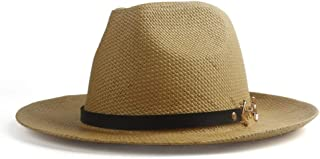 SGJFZD Fashion Summer Unisex 2019 Straw Hat Sun Elegant Queen Panama Hat Knight Dad Godfather Fedora Hat Beach Hat (Color : Coffee, Size : 56-58CM)