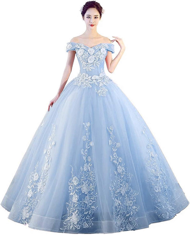 LEJY Women's Off The Shoulder Quinceanera Dresses Applique Masquerade Ball Gowns Prom Dresses
