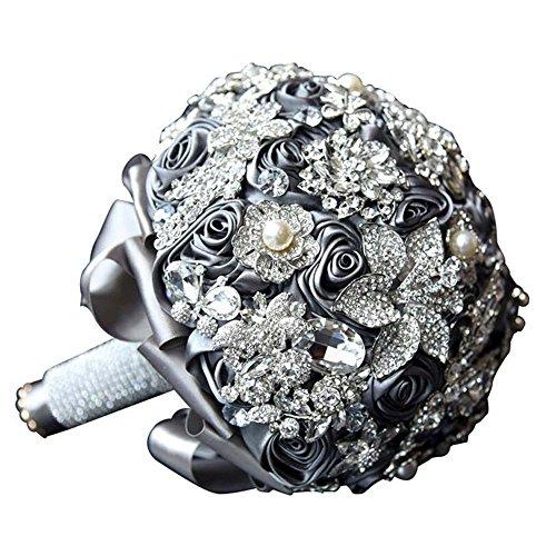 GJX handgemaakt customizableDiamond Silk Rozen Bruidsmeisjes-bruidsbruidsbruidsbruidsboeket parel kristal silk bloemen bruidsboeket bloemen met corsage-bloem grijs
