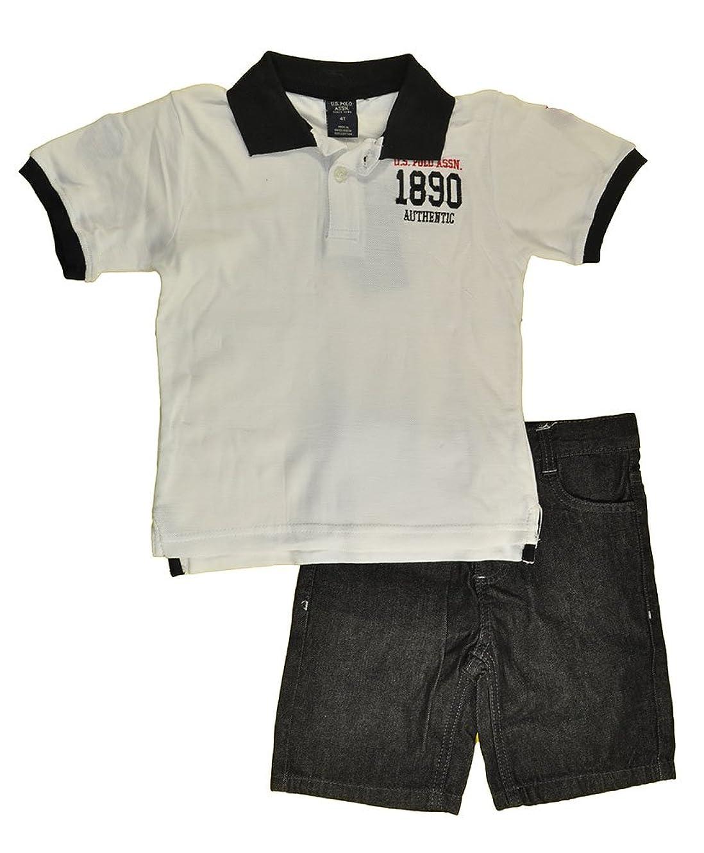 US Polo Assn Little Boys S/S Logo Polo 2pc Denim Short Set
