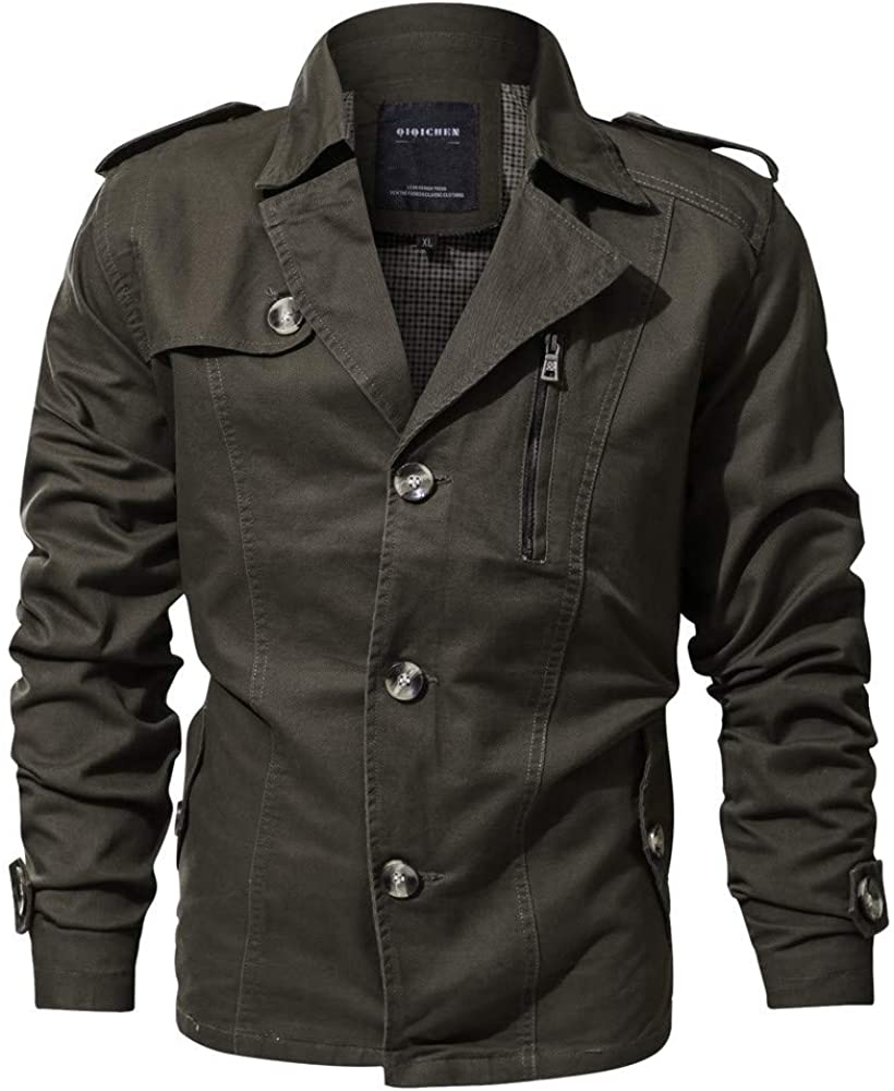 Manufacturer OFFicial shop Clearance Forthery Men's Casual Military Button Down Outw Jacket Year-end gift